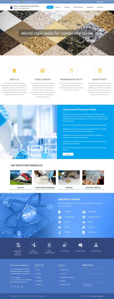 Chemical Company website design
