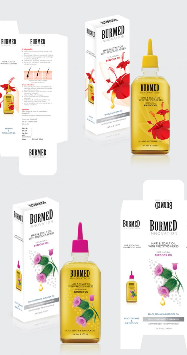 Hair Oil Packaging Label Design