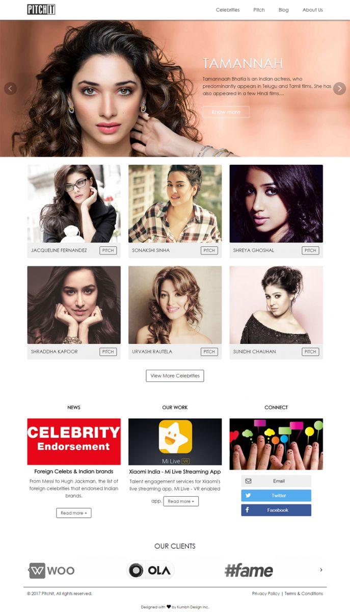 Celebrities Website Design and Development