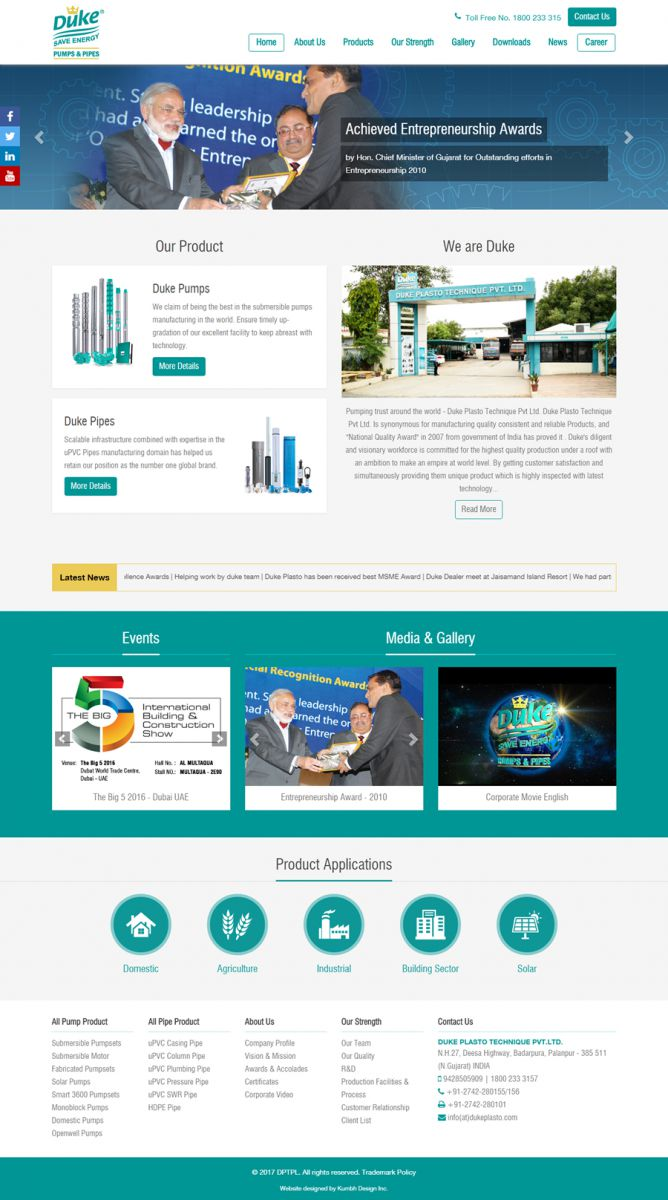 Pump Manufacturers Website Design
